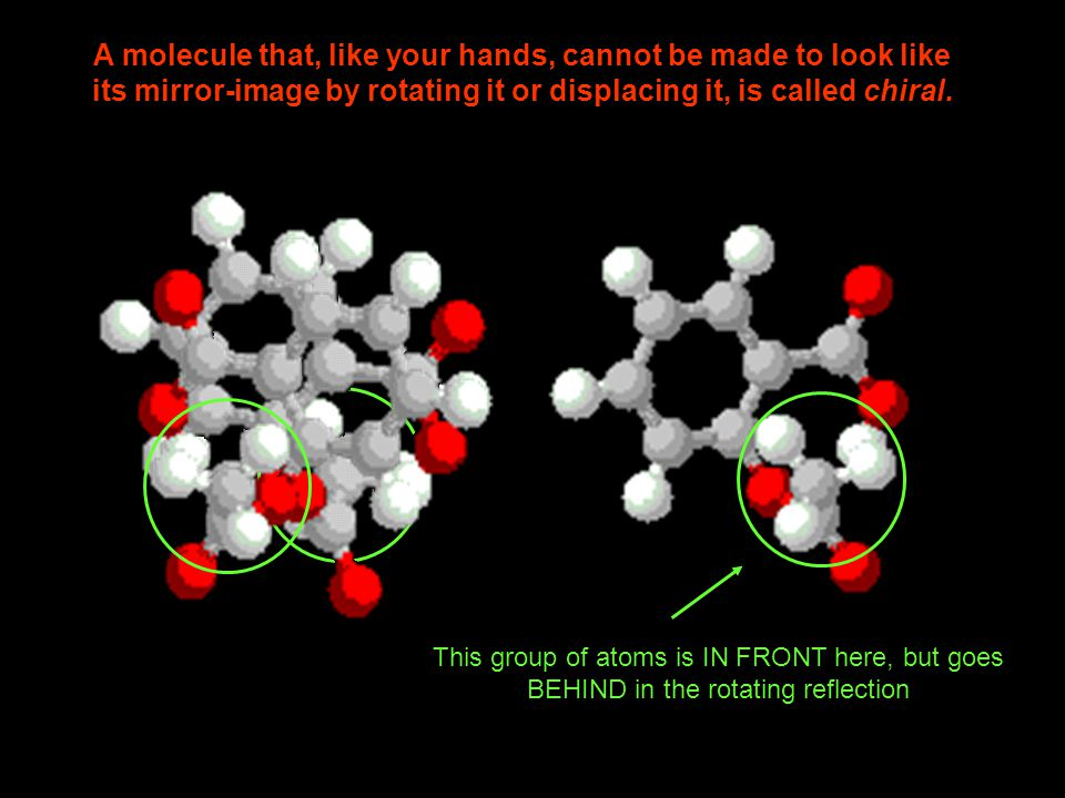 A molecule that, like your hands, cannot be made to look like its mirror-image by rotating it or displacing it, is called chiral.