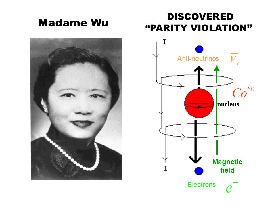 DISCOVERED Madame Wu PARITY VIOLATION Anti-neutrinos Magnetic field