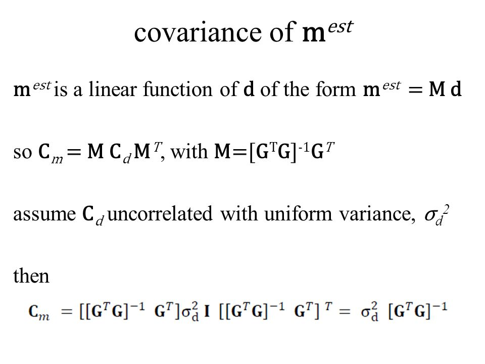 covariance of mest
