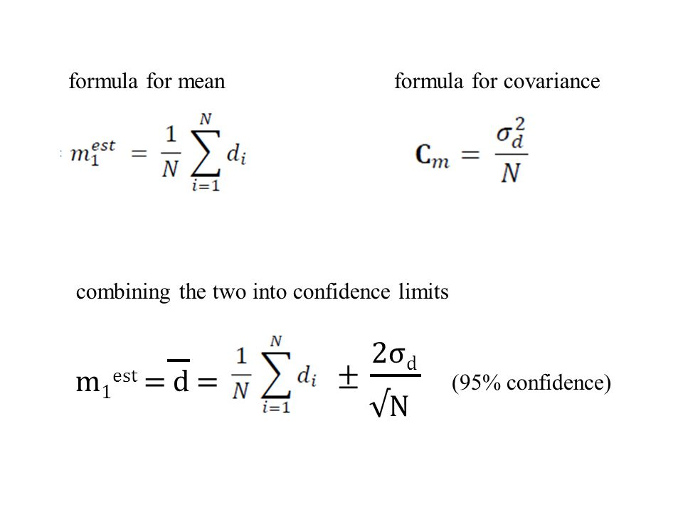 2σd ± m1est = d = √N formula for mean formula for covariance