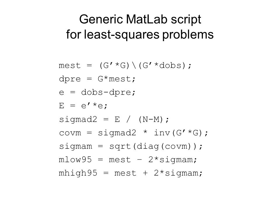 Generic MatLab script for least-squares problems