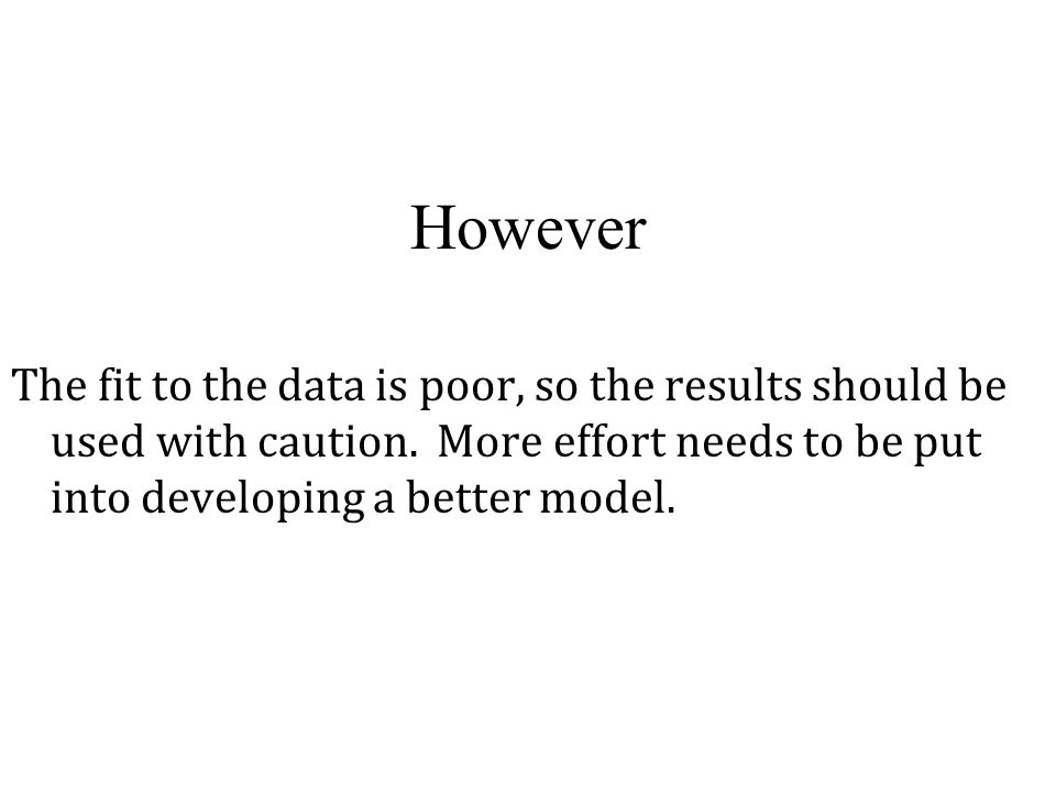 However The fit to the data is poor, so the results should be used with caution. More effort needs to be put into developing a better model.