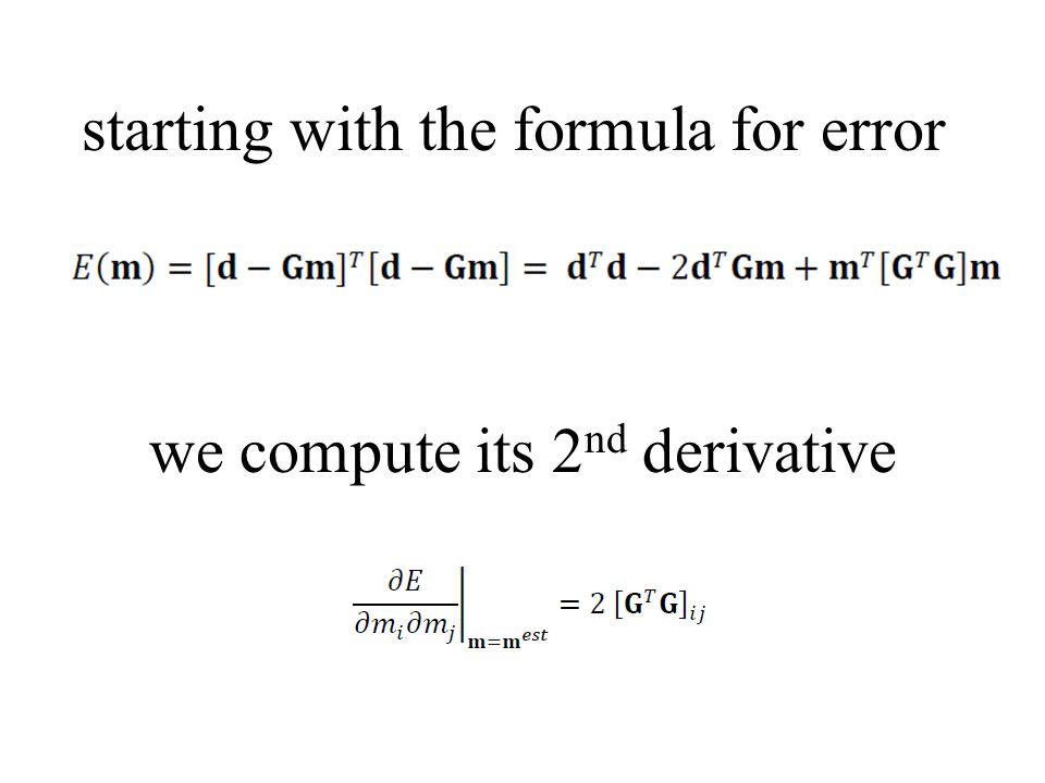 starting with the formula for error