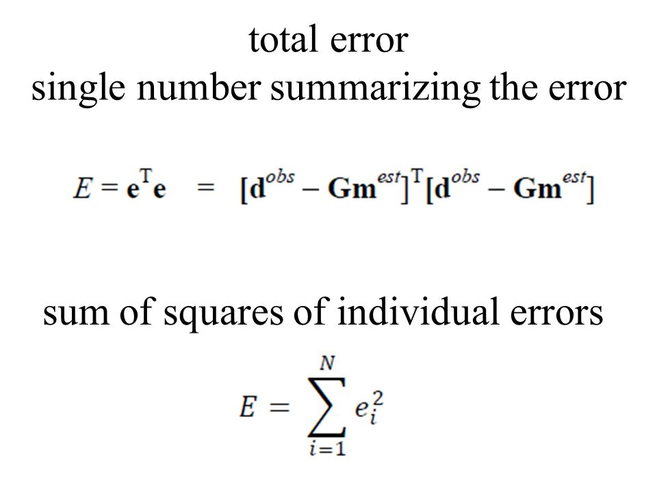 total error single number summarizing the error