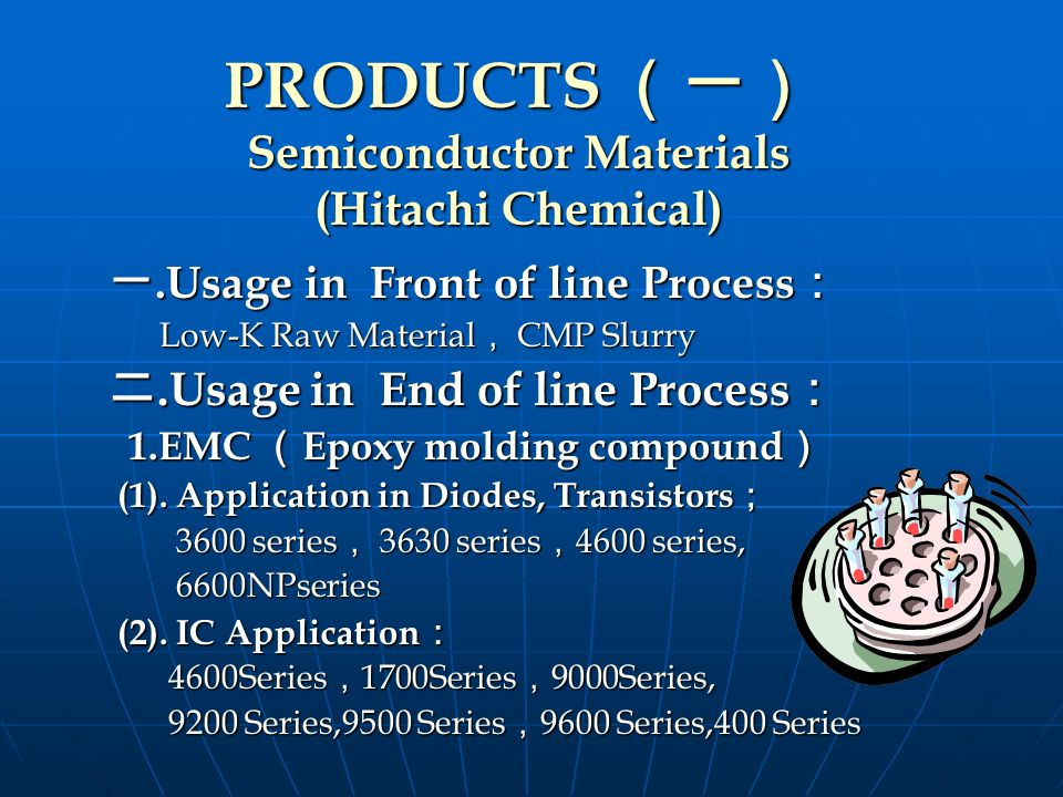 PRODUCTS (一) Semiconductor Materials (Hitachi Chemical)