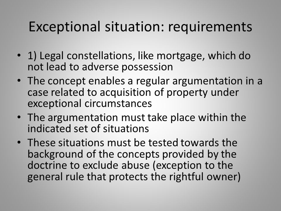 Exceptional situation: requirements