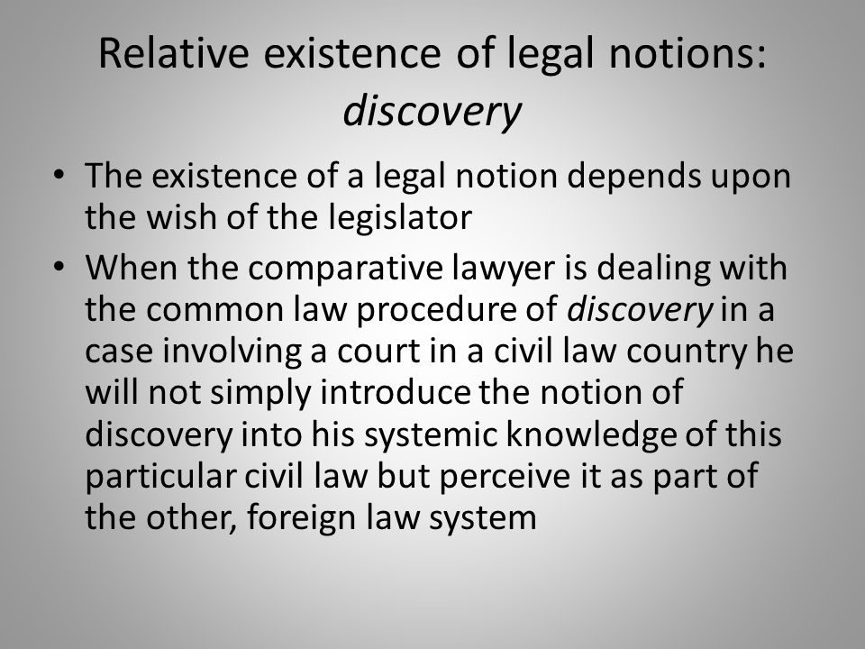 Relative existence of legal notions: discovery