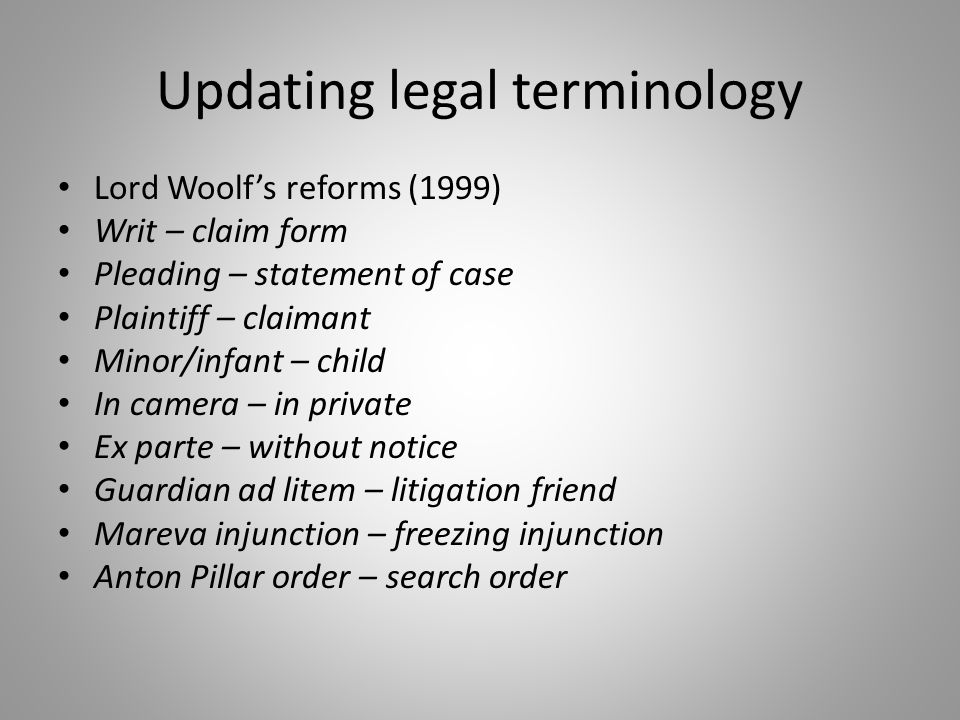 Updating legal terminology