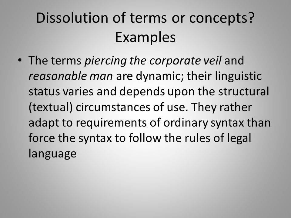 Dissolution of terms or concepts Examples