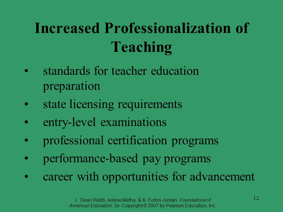 Increased Professionalization of Teaching