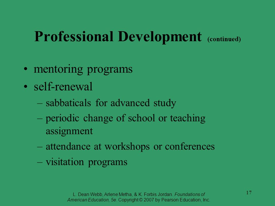 Professional Development (continued)
