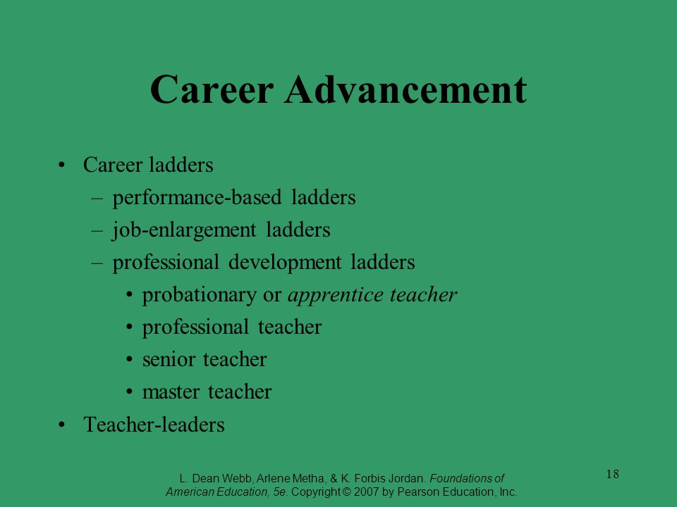 Career Advancement Career ladders performance-based ladders