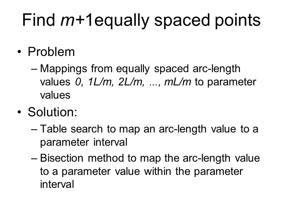 Find m+1equally spaced points
