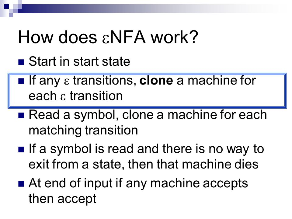 How does NFA work Start in start state