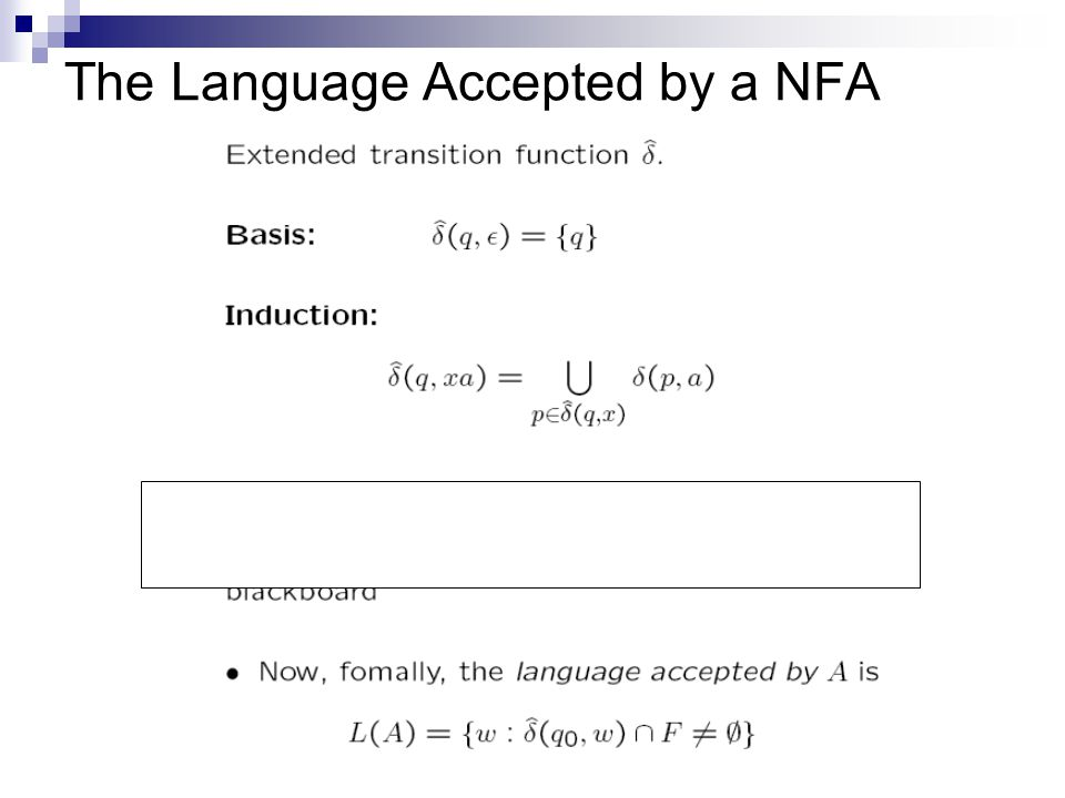 The Language Accepted by a NFA