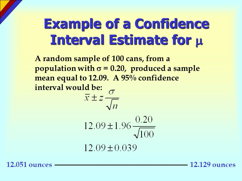 Example of a Confidence Interval Estimate for 