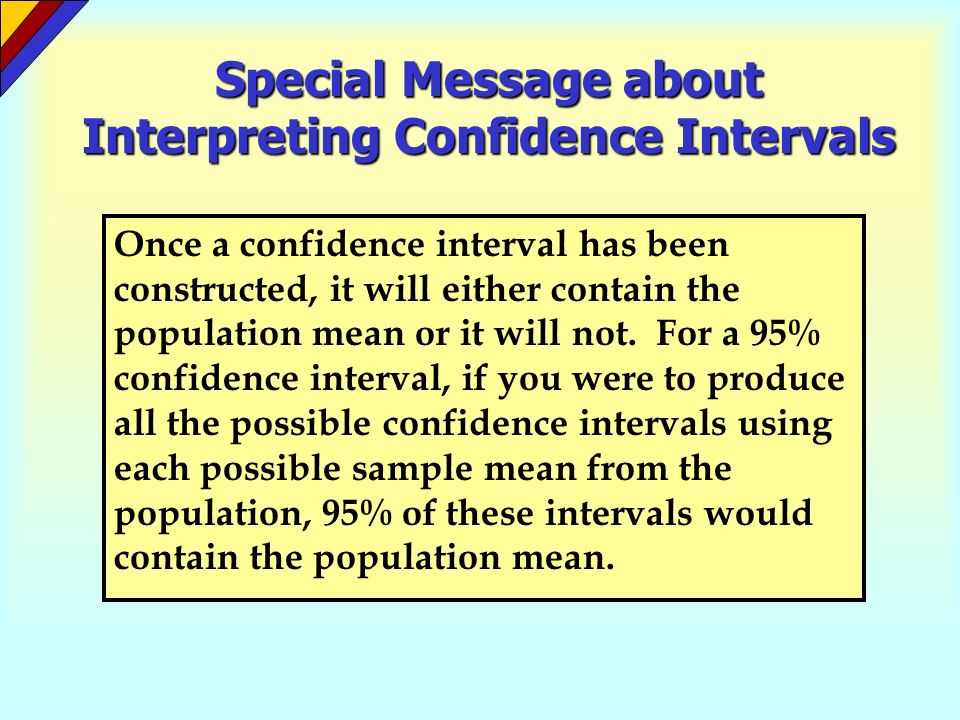 Special Message about Interpreting Confidence Intervals