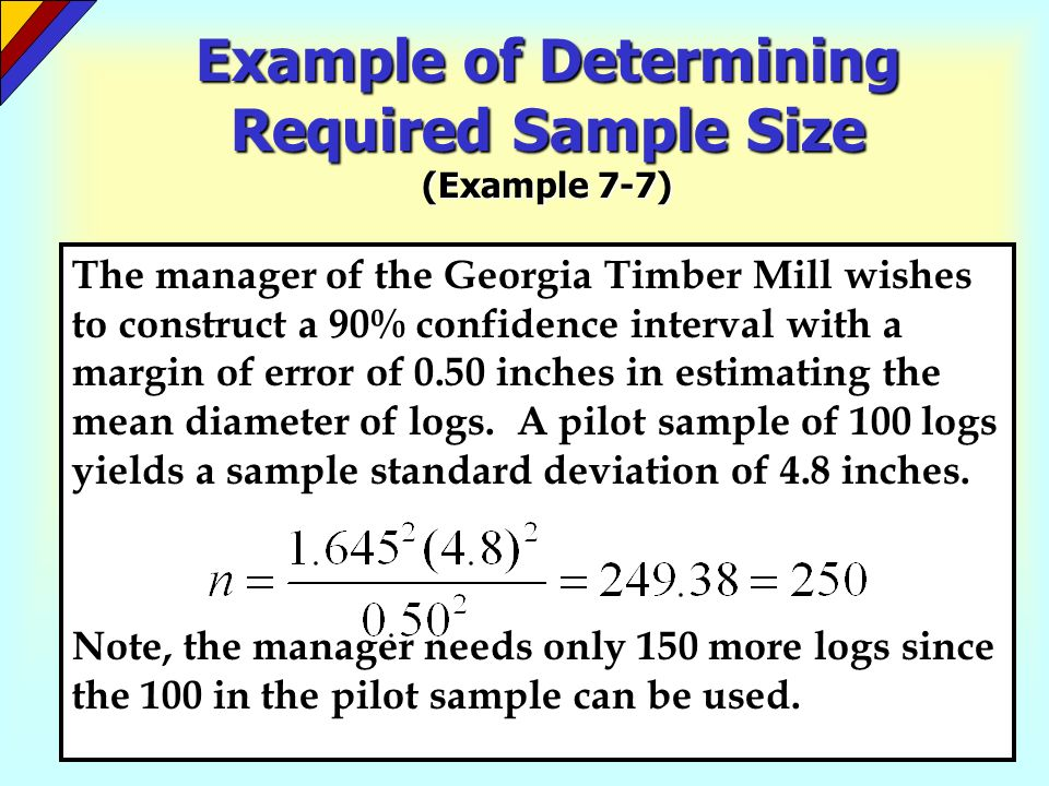 Example of Determining Required Sample Size (Example 7-7)