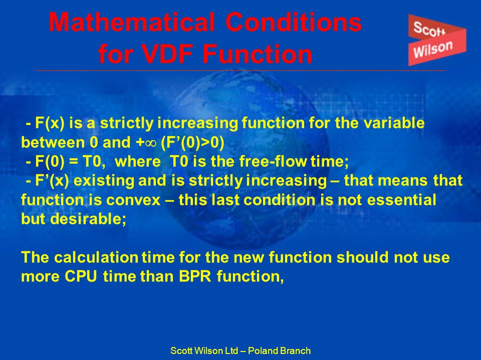 Mathematical Conditions for VDF Function