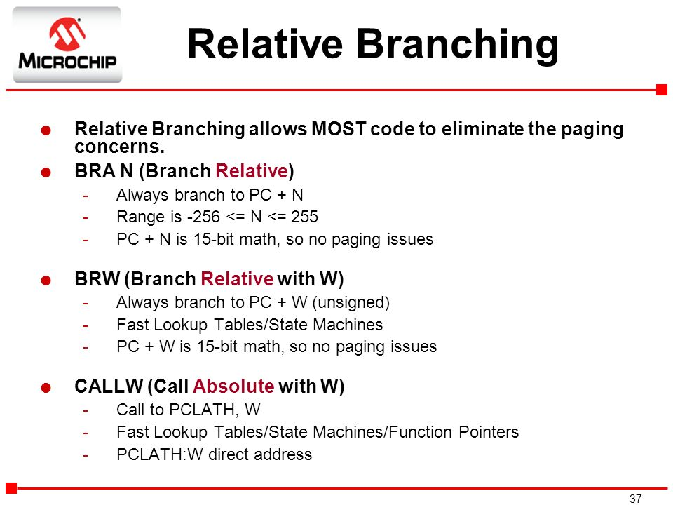 Relative Branching Relative Branching allows MOST code to eliminate the paging concerns. BRA N (Branch Relative)