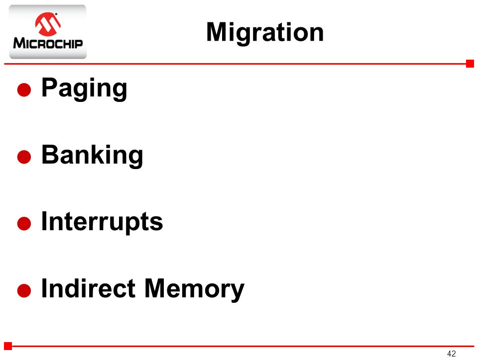 Migration Paging Banking Interrupts Indirect Memory