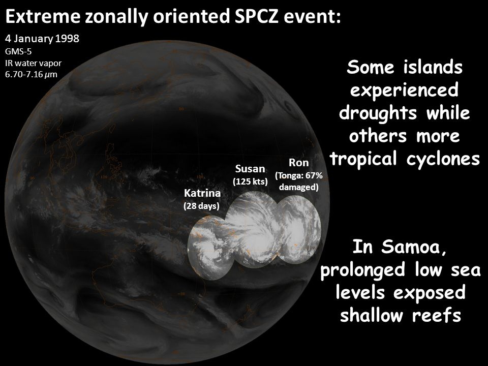 Extreme zonally oriented SPCZ event: