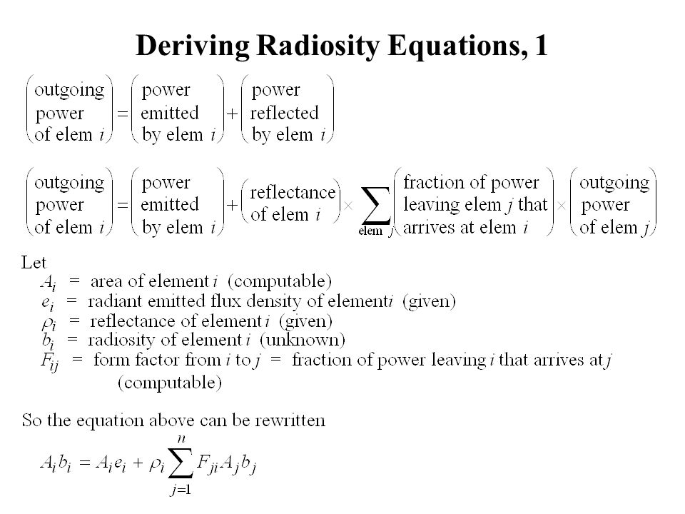 Deriving Radiosity Equations, 1