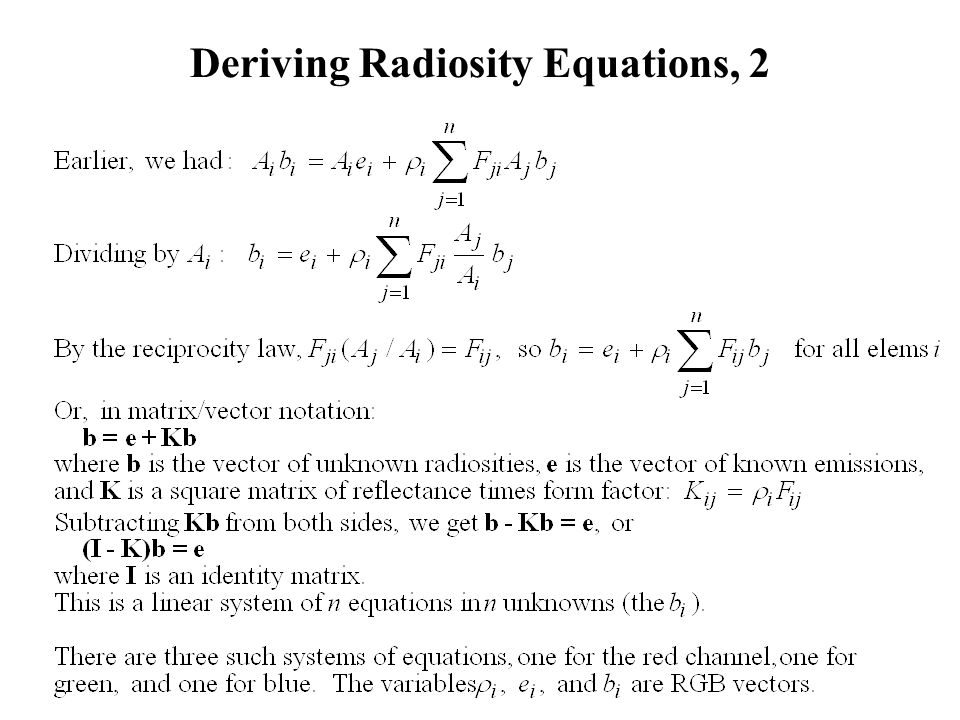 Deriving Radiosity Equations, 2