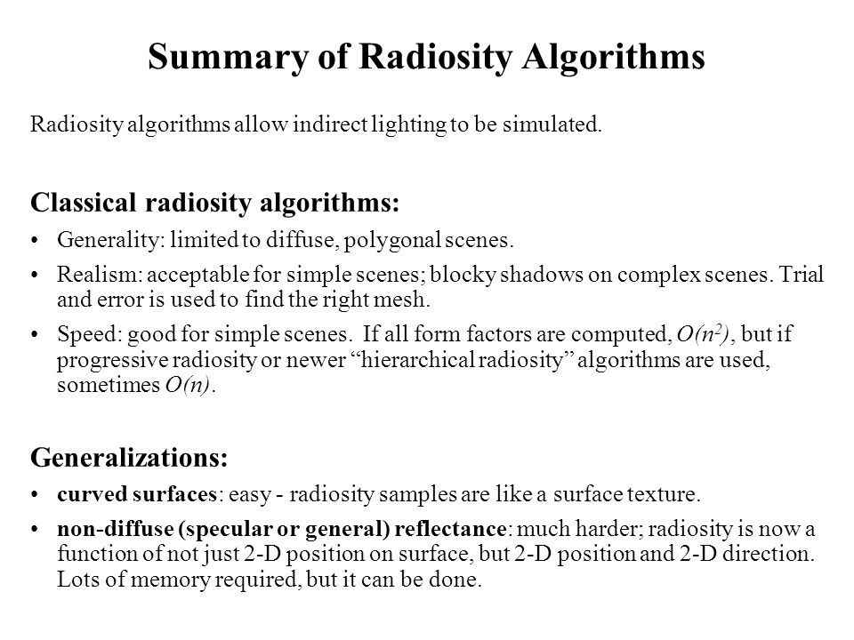 Summary of Radiosity Algorithms