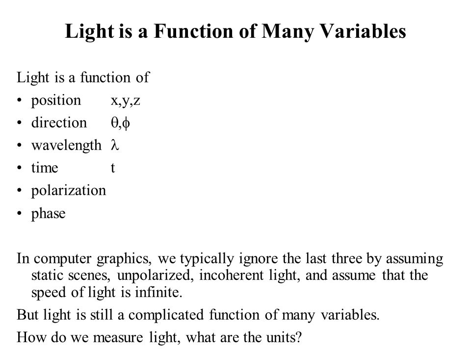 Light is a Function of Many Variables