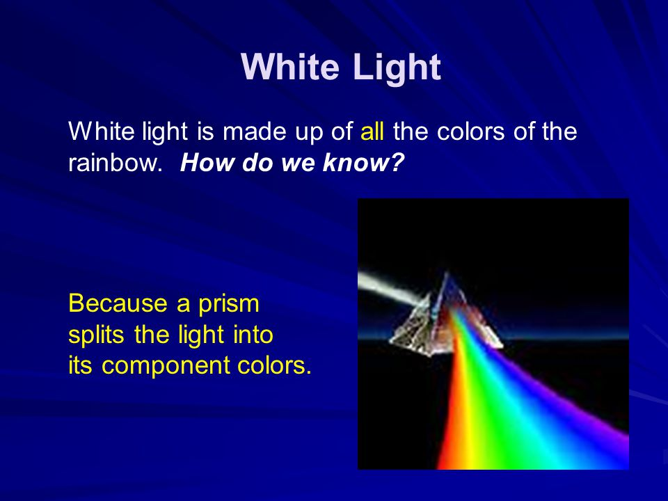 White Light White light is made up of all the colors of the rainbow. How do we know Because a prism splits the light into its component colors.