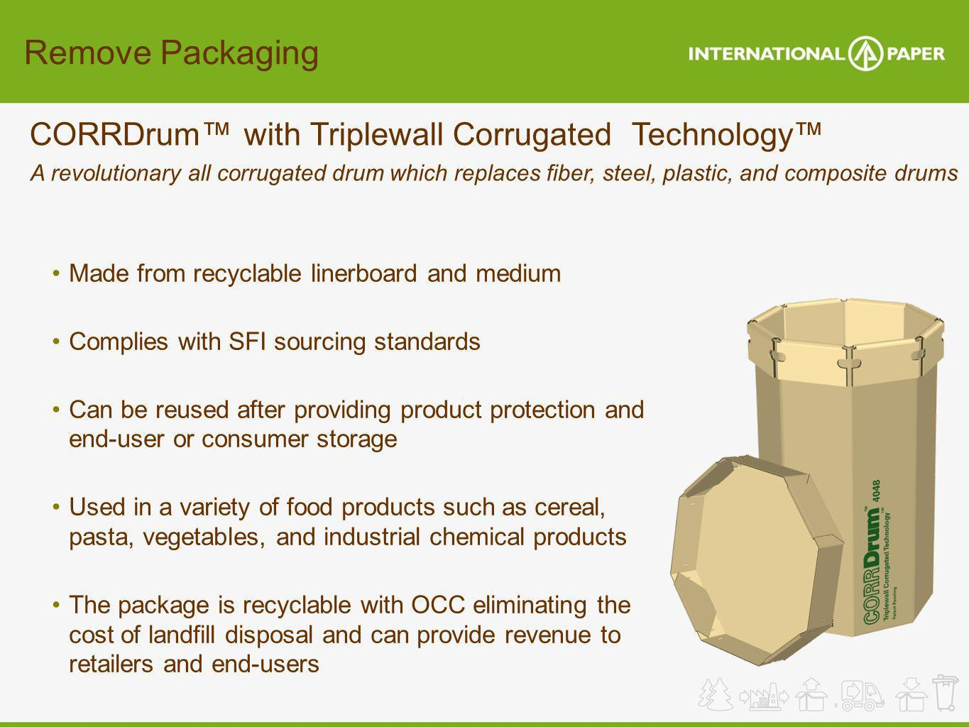 Remove Packaging CORRDrum™ with Triplewall Corrugated Technology™