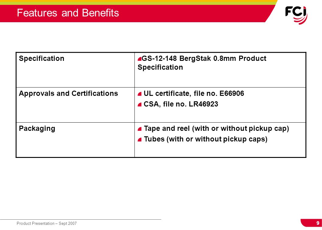 Features and Benefits Specification