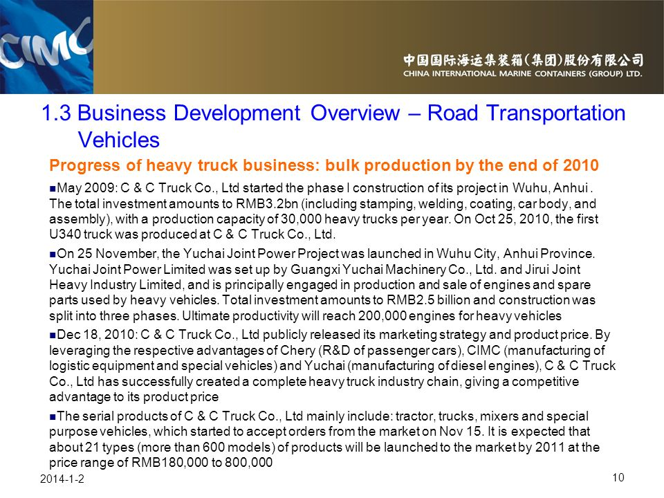 1.3 Business Development Overview – Road Transportation Vehicles
