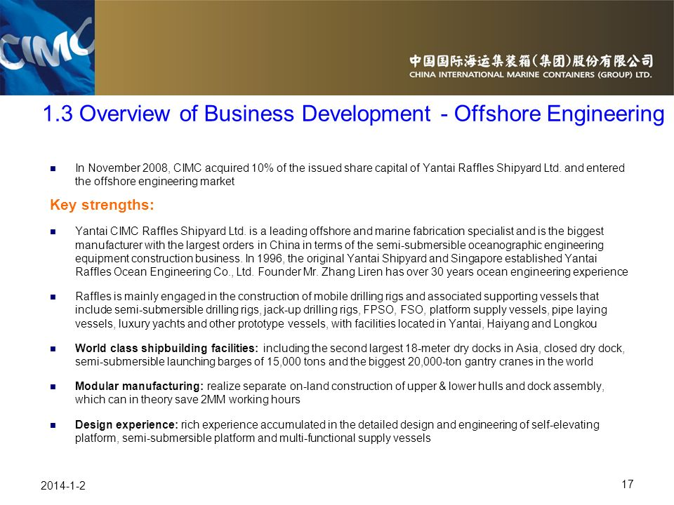 1.3 Overview of Business Development - Offshore Engineering