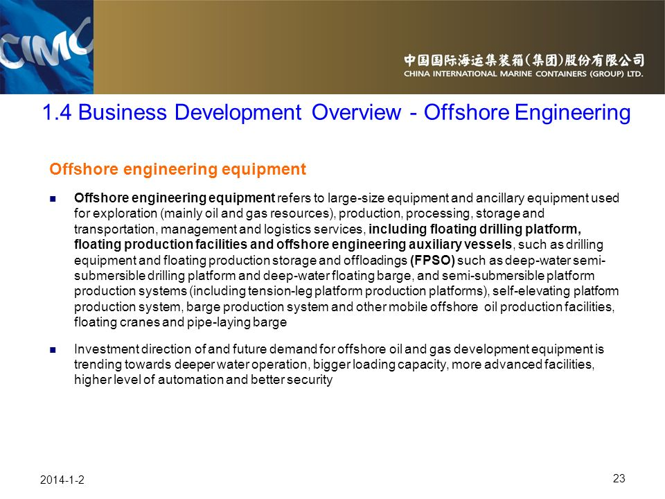 1.4 Business Development Overview - Offshore Engineering