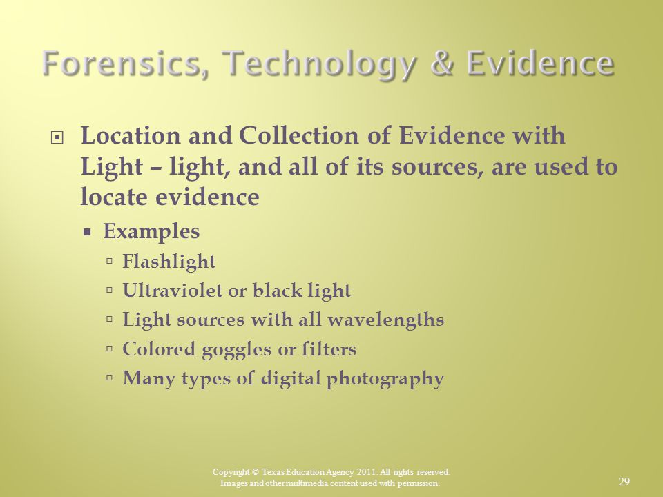 Forensics, Technology & Evidence