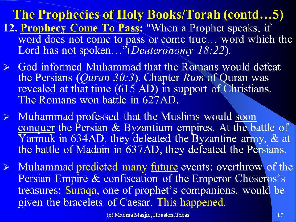 The Prophecies of Holy Books/Torah (contd…5)