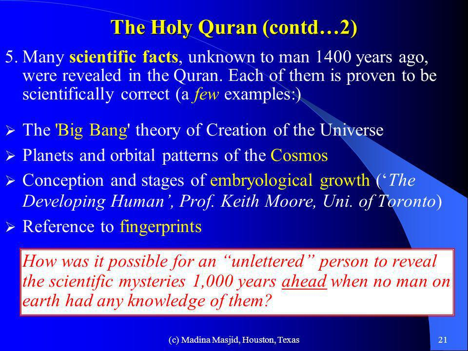 The Holy Quran (contd…2)
