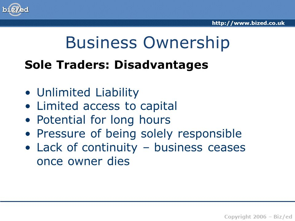 Business Ownership Sole Traders: Disadvantages Unlimited Liability