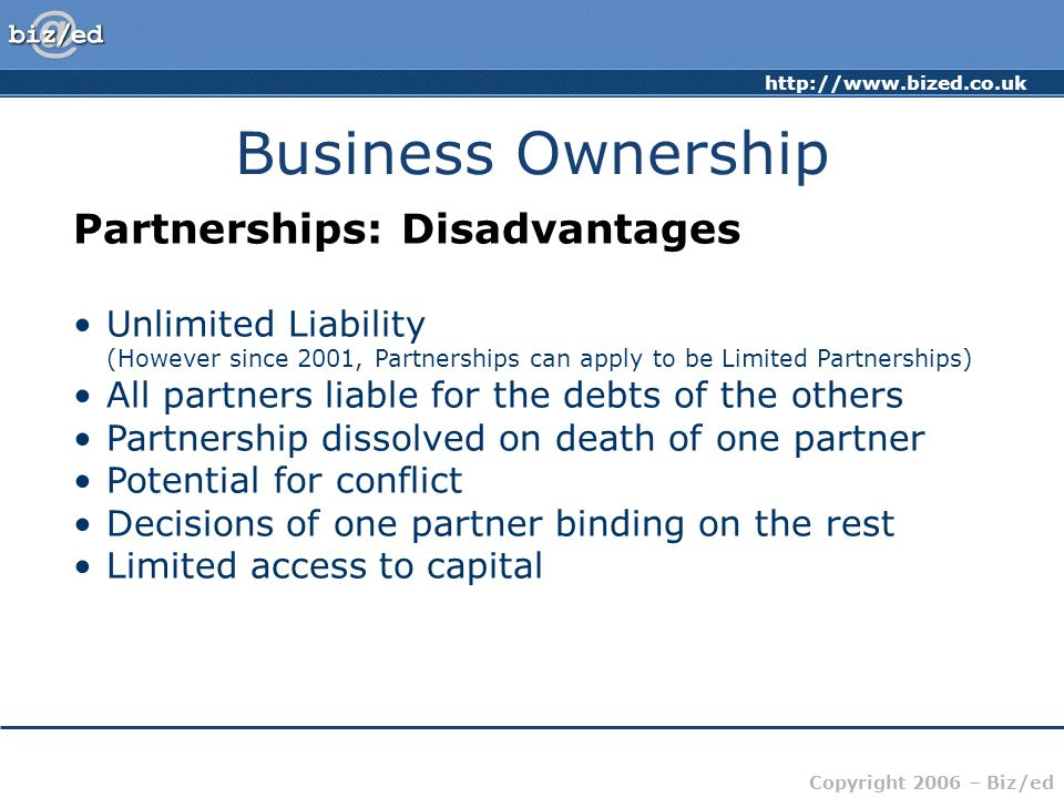 Business Ownership Partnerships: Disadvantages
