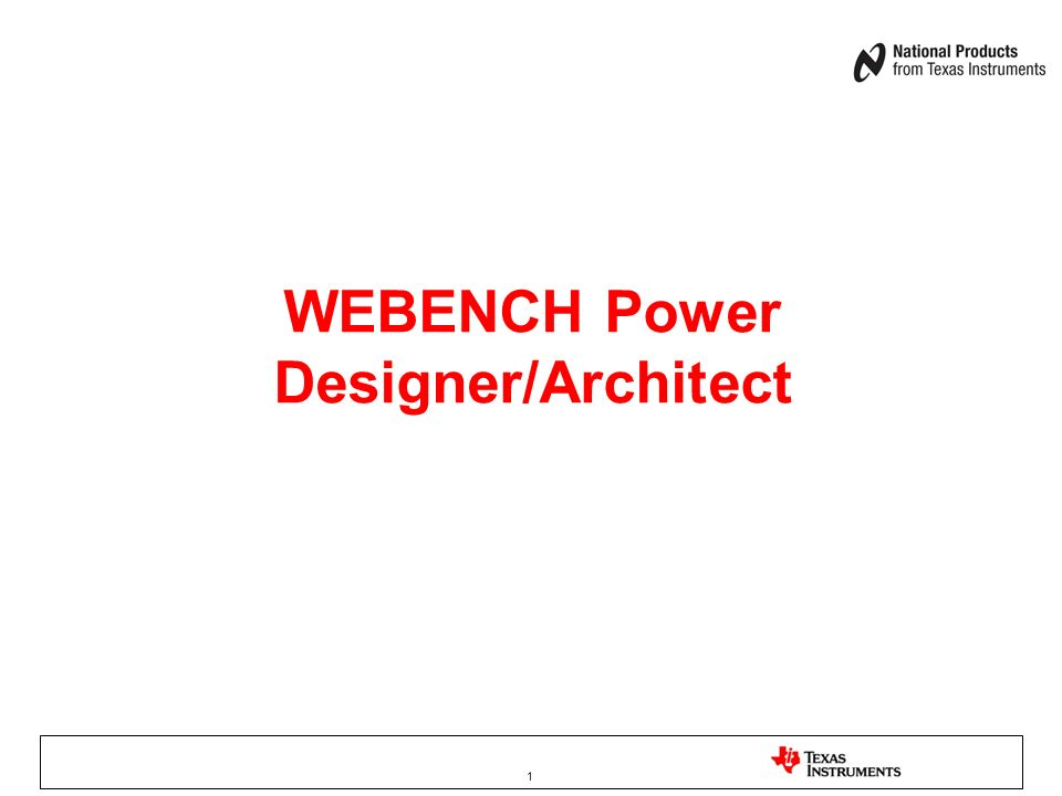 WEBENCH Power Designer/Architect