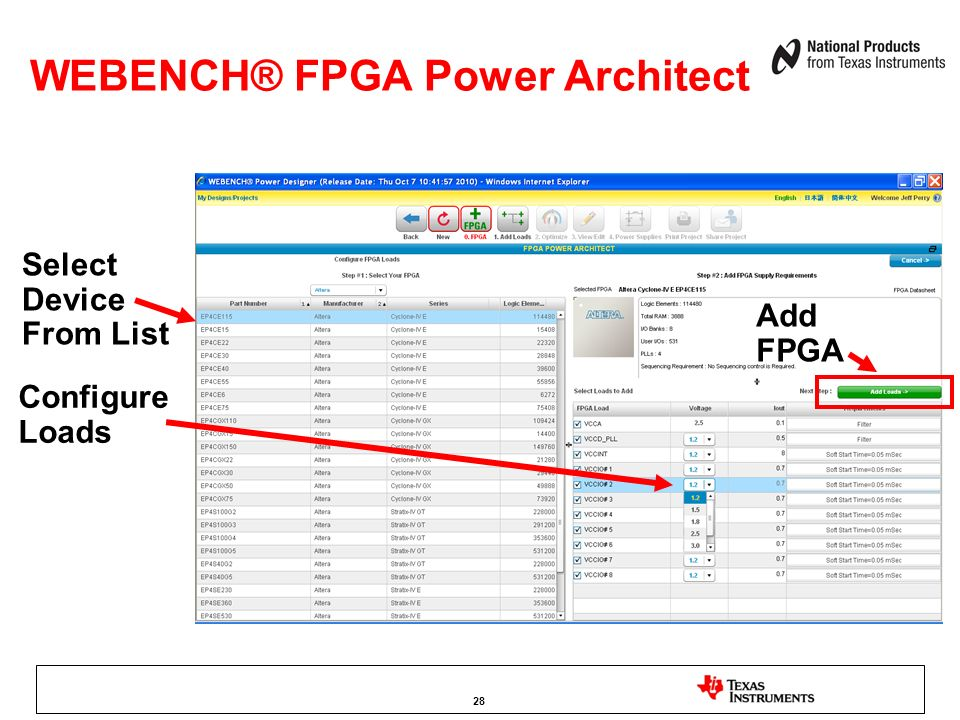 WEBENCH® FPGA Power Architect