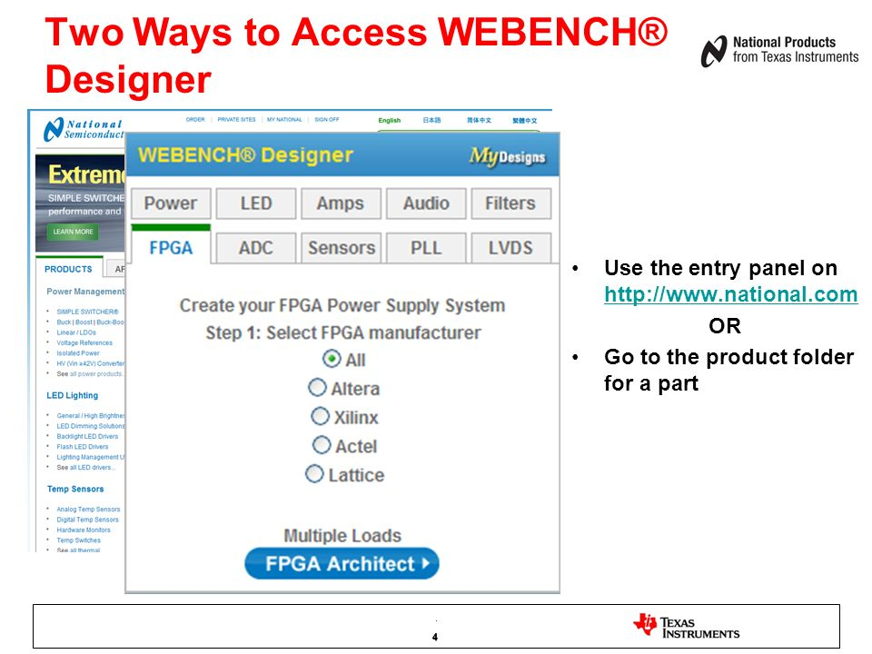 Two Ways to Access WEBENCH® Designer