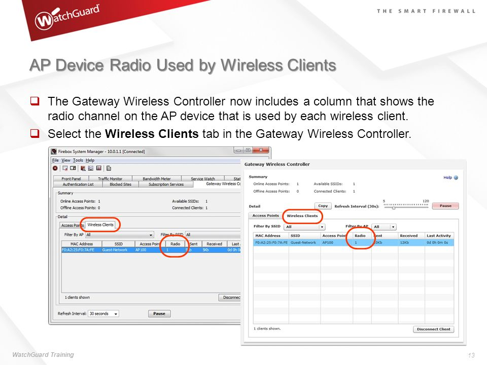AP Device Radio Used by Wireless Clients