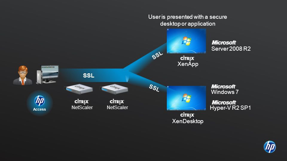 User is presented with a secure desktop or application