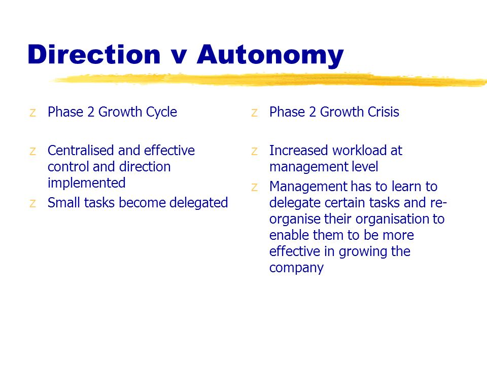 Direction v Autonomy Phase 2 Growth Cycle