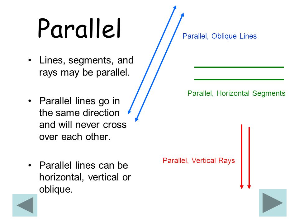 Parallel Lines, segments, and rays may be parallel.