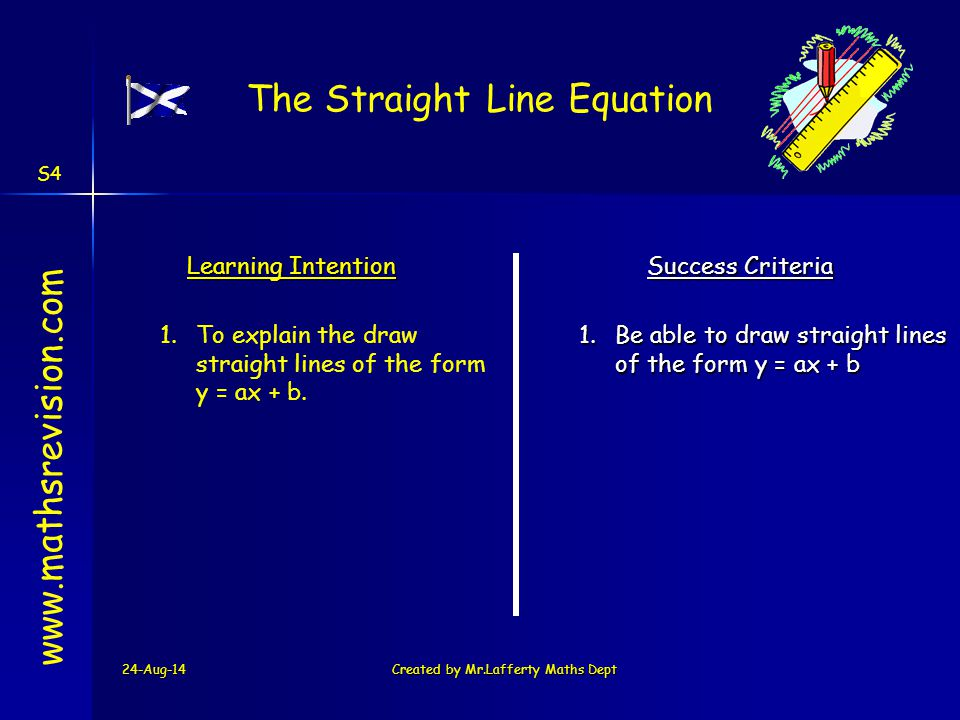 The Straight Line Equation