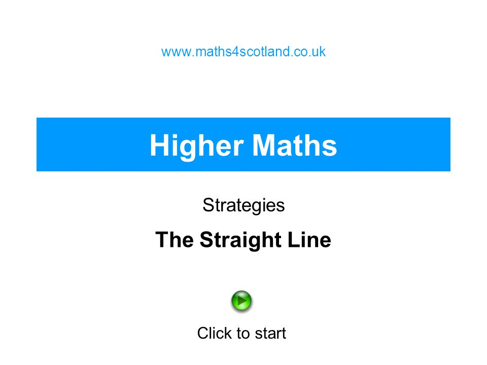 Higher Maths The Straight Line Strategies Click to start